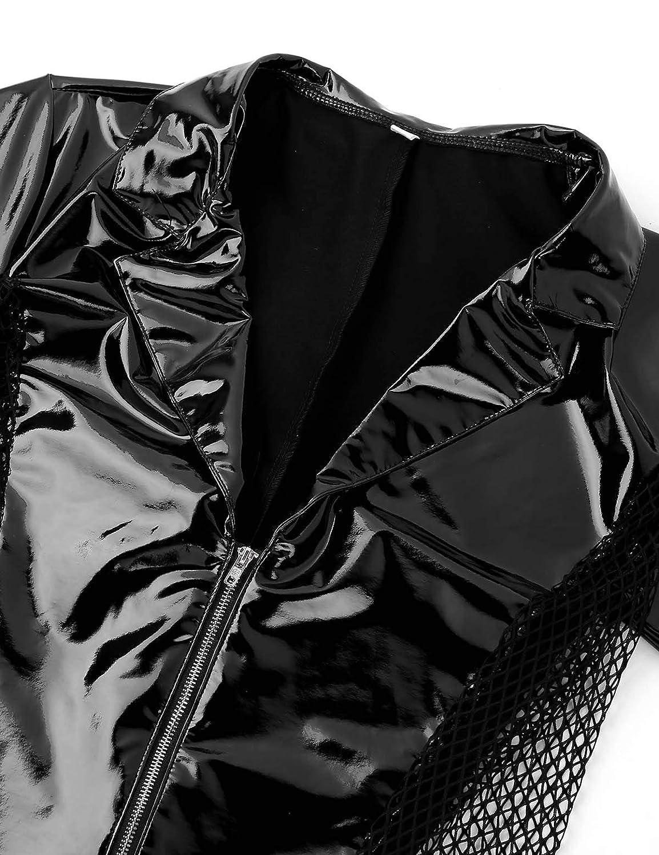 Freebily Mens One Piece Faux Leather Mesh Side Front Zipper Wrestling Singlet Leotard Bodysuit Catsuit