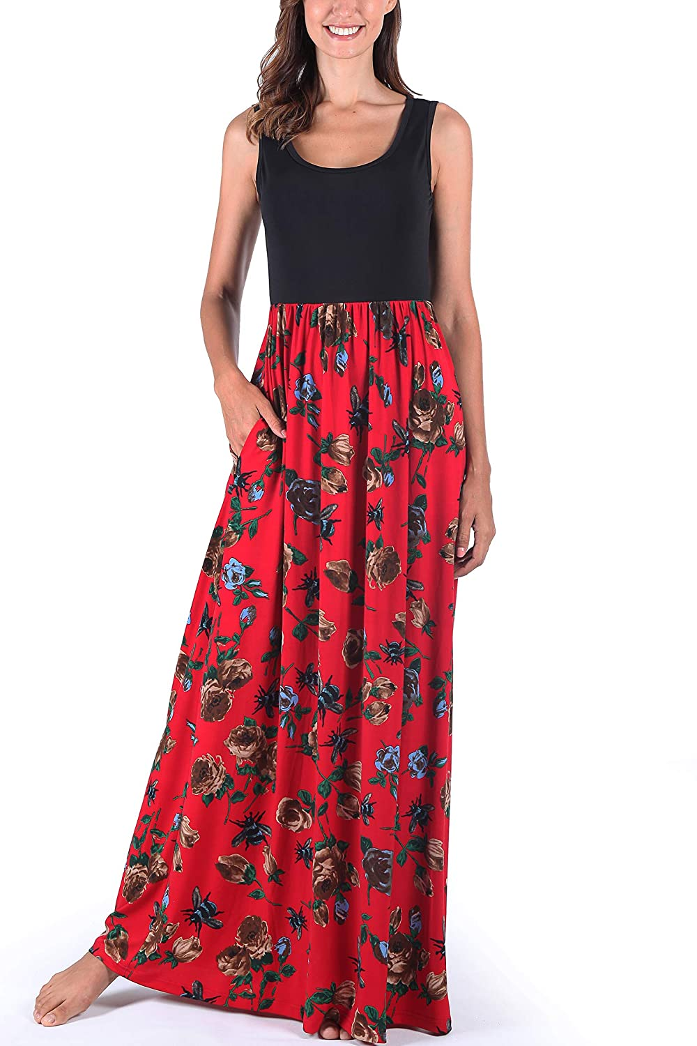 Black  Red Comila Women's Summer Sleeveless Floral Print Tank Long Maxi Dress with Pockets