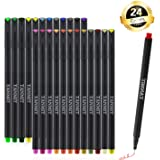 24 Fineliner Color Pen Set, 0.38mm Colored Fine Line Sketch Writing Drawing Pen - Porous Fine Point Pens for Bullet Journal Coloring Book and Taking Note Planner by Tanmit
