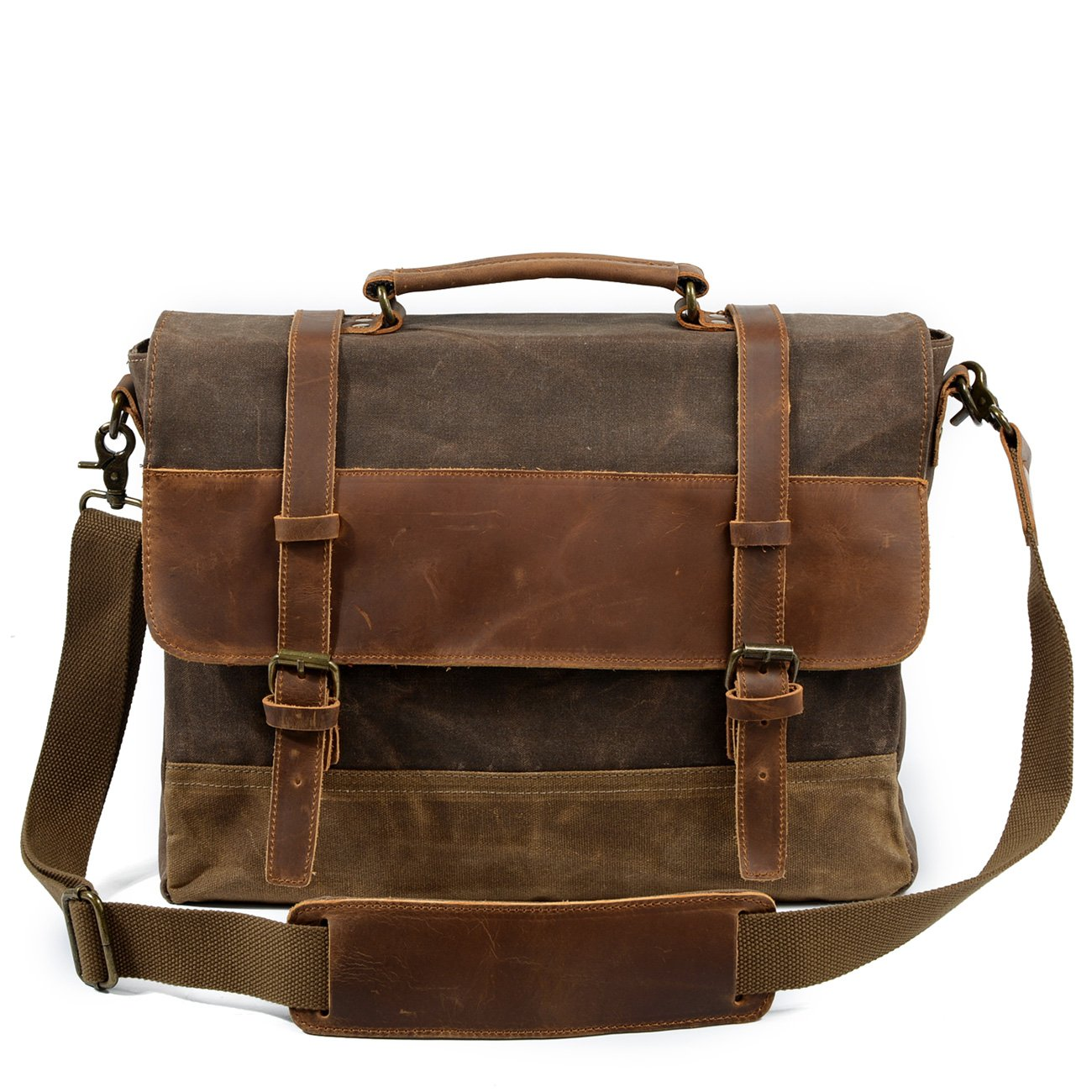 Mens Vintage Retro Genuine Leather Messenger Bag Waterproof Canvas Leather Computer Laptop Bag 15 Inch Briefcase Case (Brown) by peacechaos