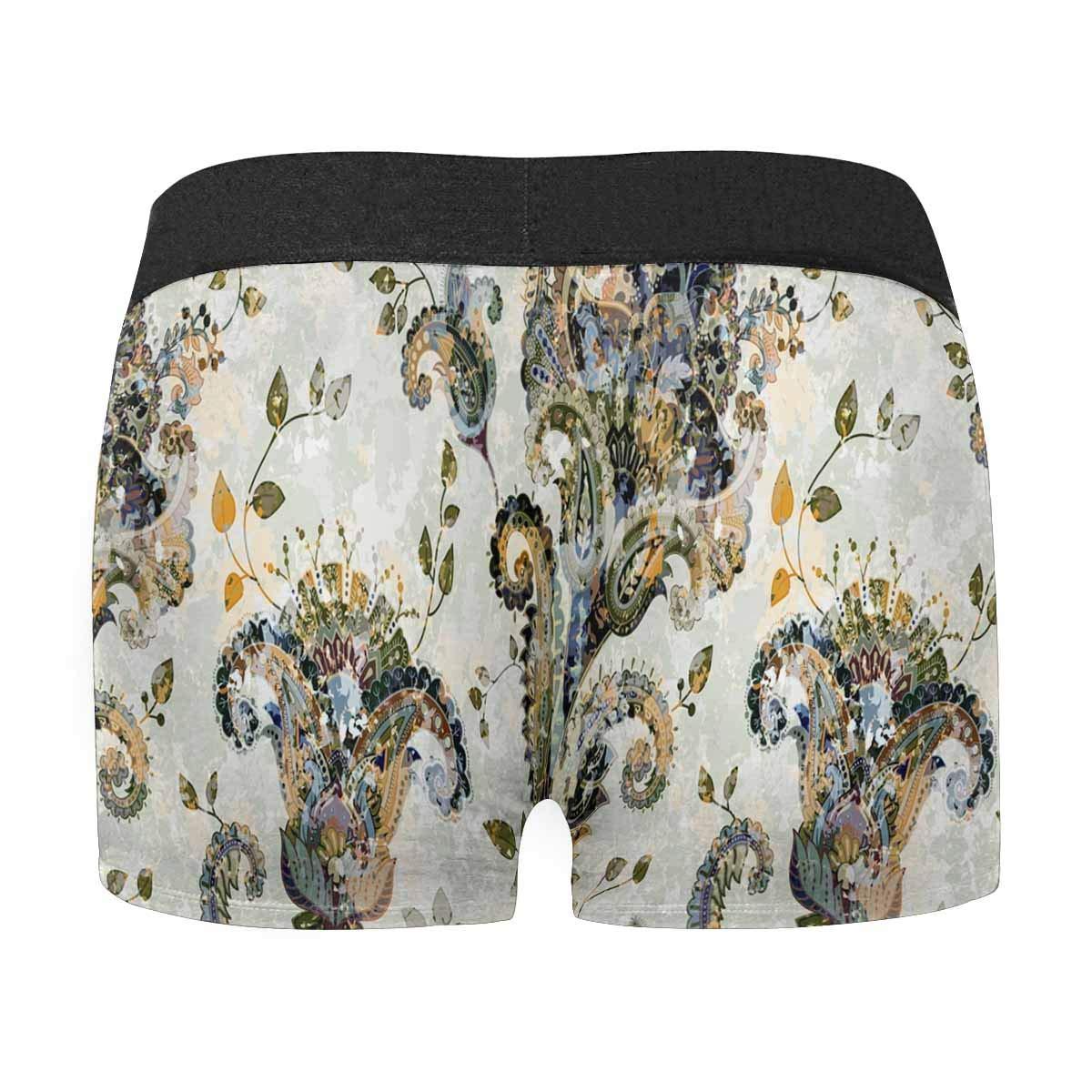INTERESTPRINT Boxer Briefs Mens Underwear Paisley Floral Ethnic XS-3XL