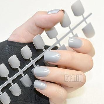 echiq moda abuela gris gris uñas postizas cuadrada cabeza falsa uñas acrílico uñas consejos uso diario Full Wrap consejos: Amazon.es: Belleza