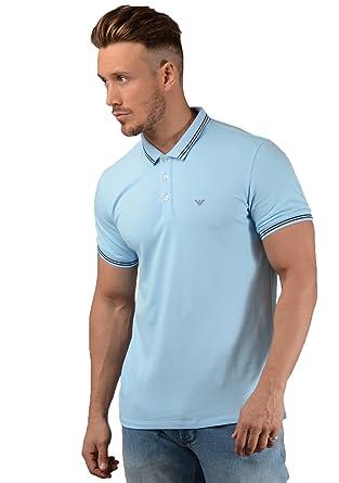 da2f6853 Emporio Armani Light Blue Stretch Short Sleeve Polo T-Shirt 8N1F2B 1JPTZ  XXX-Large: Amazon.co.uk: Clothing