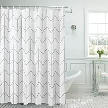 SUN Shine Elegant Geometric Shower Curtains Herringbone Fabric Polyester Bathroom Curtain Mildew Resistant And Waterproof