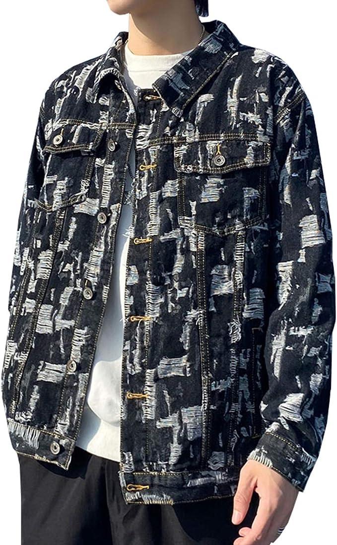 M-5XL デニムジャケット Gジャン メンズ 春秋 防風 防寒 大きいサイズ ゆったり ストレッチ ジージャン 合わせやすい カジュアル 通勤 通学 お出かけ おしゃれ ストリート ダメージ加工 ブラック/ブルー