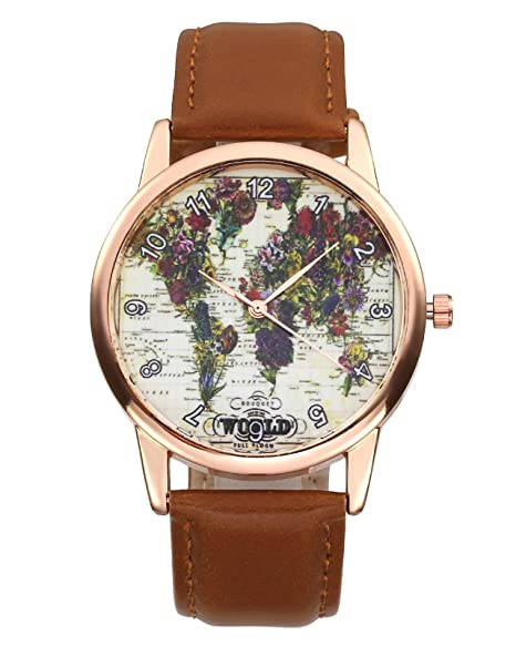 jsdde Relojes Vintage Flores Mapa del Mundo Reloj de Pulsera Mujer Reloj Cuero PU Pulsera Analógico De Cuarzo Reloj con batería marrón: Amazon.es: Relojes