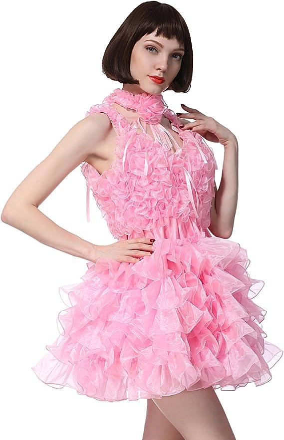 Details about  /Sissy Gril V Shaped Neckline Organza Puffy Levender Braces Dress @