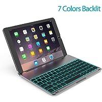 OBOR Aluminiumlegierung iPad Pro 9.7 Tastaturkoffer - 7 Farben Hintergrundbeleuchtung Flip Wireless Bluetooth Tastatur Schutzhülle für iPad Pro 9.7'' und iPad Air 2 (Schwarz)