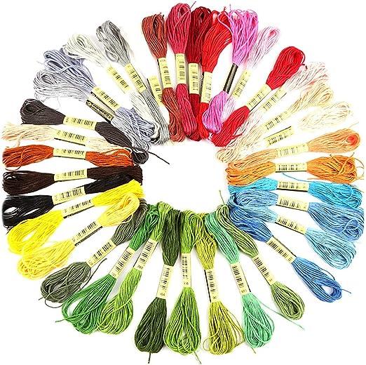 Teydhao 36 Colores Hilo de Algodón Trenzado de Punto de Cruz ...