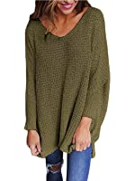RooZooe Women's Oversized Knitted Sweater V Neck Blouse Loose Jumper Pullovers Green Medium