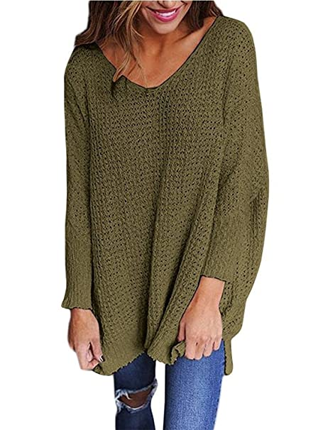51de234ae Image Unavailable. Image not available for. Color  RooZooe Women s  Oversized Knitted Sweater V Neck Blouse Loose Jumper Pullovers ...