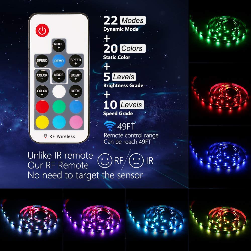 NEXVIN 2M 60 LED Bande Lumineuse Flexible Multicolore avec T/él/écommande Sans Fil de 17 Touches pour D/écoration de Chambre TV PC Miroir Table Ruban LED