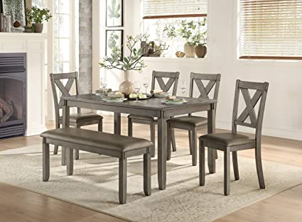 Fabulous Homelegance 6 Piece Pack Dinette Set Gray Onthecornerstone Fun Painted Chair Ideas Images Onthecornerstoneorg