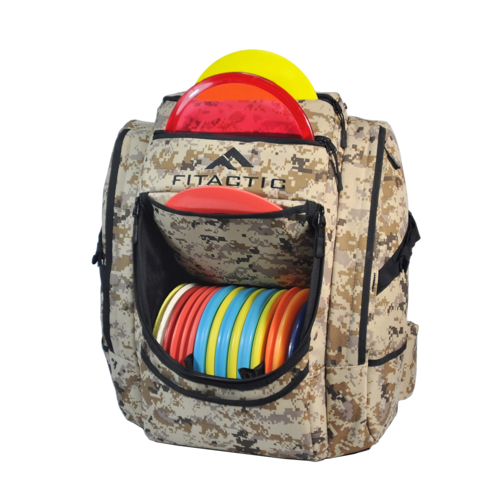 FITactic Luxury Frisbee Disc Golf Bag Backpack (Capacity: 25-30 Discs, Digital Desert Camouflage) by FITactic