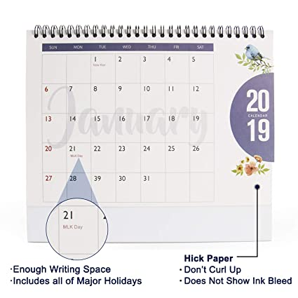 Best Standing Desk 2020 Amazon.: 2019 Desk Monthly Calendar   ISEYMI Daily Calendar