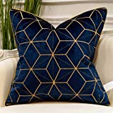 Avigers 18 x 18 Inches Navy Blue Gold Plaid Cushion Case Luxury European Throw Pillow Cover Decorative Pillow for Couch Livin