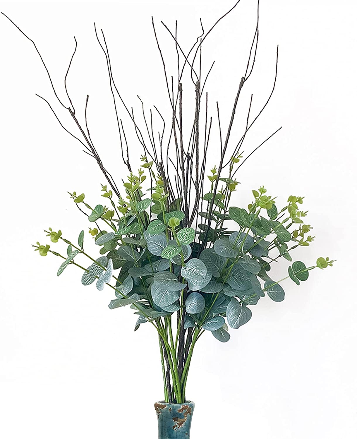FeiLix 2PCS Eucalyptus Leaves Stems Mixed with 4PCS Branches ,Artificial Greenery Dried Eucalyptus Plant for Vases Party Home Farmhouse Decor
