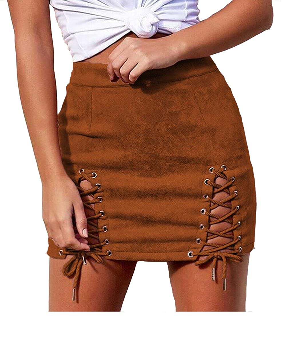 acca78b2df DESIGN:Double criss-cross lacing up ,Bodycon,Zipper closure at the back,Slit  front and high waist fitted design,A line mini length.Above knee length  pencil ...