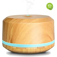 Aromatherapy Diffusers 450ml Wood Grain Aroma Ultrasonic Diffuser Portable Air Aroma Essential Oils Diffuser with 8 Adjustable Colorful Night Light, Waterless Auto Shut-off Cool Mist Humidifier