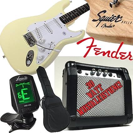 Original Fender Guitarra eléctrica Squier Bullet Strat Vintage White Blanco 30 W Amplificador, afinador con