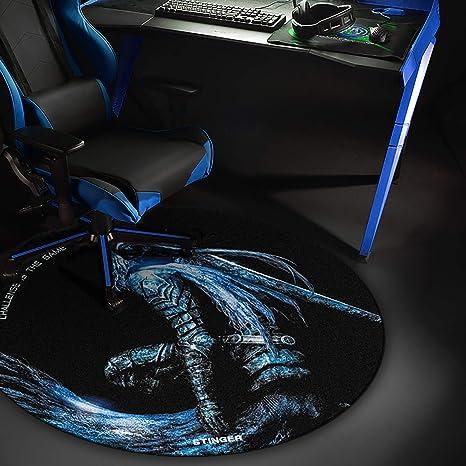 Woxter Stinger Floorpad Blue - Alfombrilla Gaming de Suelo, Tapete Protector para Suelo - Resistente al Agua, Lavable, 100% Microfibra, Diámetro 120 ...