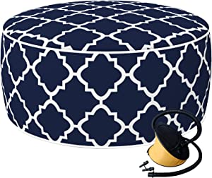 """LVTXIII Indoor/Outdoor Inflatable Ottoman, All Weather Round Footrest Stool with Foot Pump for Kids or Adults D21""""x H9"""", Portable for Patio Garden Camping or Home-Geomentry Navy"""
