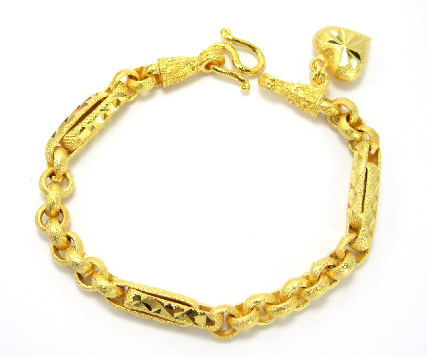 Bangkok Bazaar Classic Thai Style Bracelet 6 3/4 Inch with Heart Charm 24k Gold Plated Jewelry