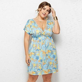Amazon.com: Vestido sexy de talla grande para mujer, estilo ...