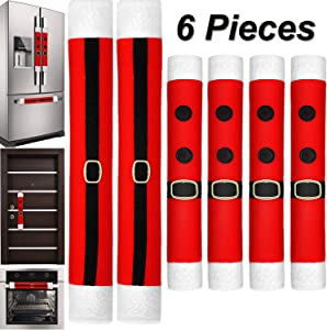6 Pieces Christmas Refrigerator Door Handle Covers Kitchen Appliance Handle Covers Santa Belts Handle Decorations for Christmas Fridge Microwave Oven Dishwasher Handle Protector