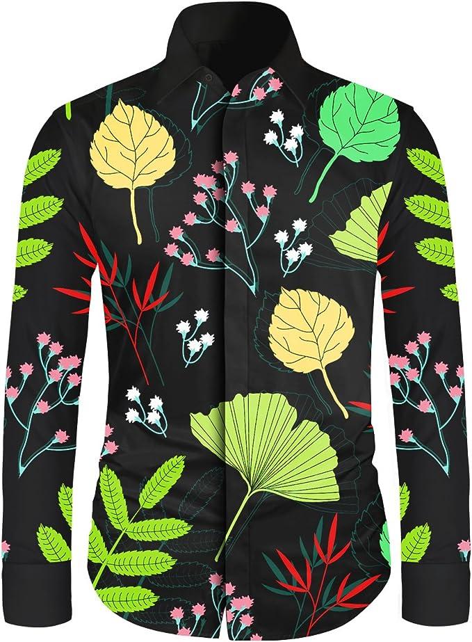 Shenglila Mens Hawaiian Button Down Shirts Long Sleeve Luxury Design Print Dress Shirt