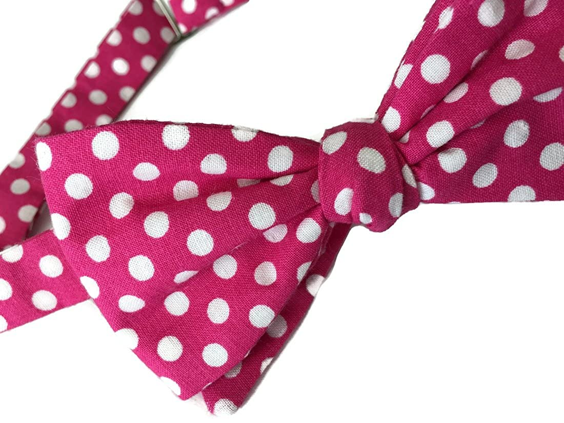 Men/'s Self-Tie Bow Tie in Hot Pink and White Polka Dots