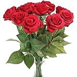 "Silk Rose 17"" Artificial Flowers As Natural -Louis Garden (3, Red)"