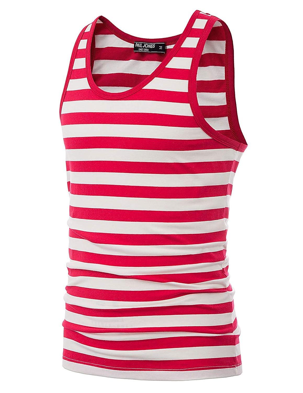 PaulJones Camiseta de Tirantes Slim Fit Muscle Shirts Stripe Fitness Sport Respirable Causal A-Shirt