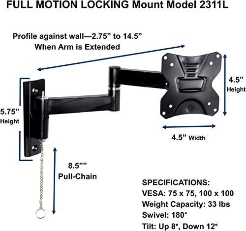 Master Mounts 2311L-2 Portable Travel RV TV Mount Locking Articulating Arm Allows 1 TV to be Used in 2 Locations, Keeps TV Secure in Moving Vehicles up to VESA 100×100