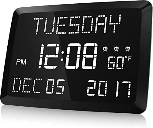 Digital Clock, Raynic 11.5 Large LED Word Display Dimmable Digital Wall Clock,Adjustable Brightness Digital Alarm Clock with Day and Date,Indoor Temperature,Snooze,12 24H,DSTfor Home, Office,Elderly