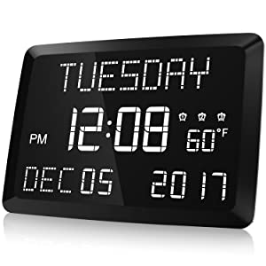 "Digital Clock, Raynic 11.5"" Large LED Word Display Dimmable Digital Wall Clock,Adjustable Brightness Digital Alarm Clock with Day and Date,Indoor Temperature,Snooze,12/24H,DSTfor Home, Office,Elderly"
