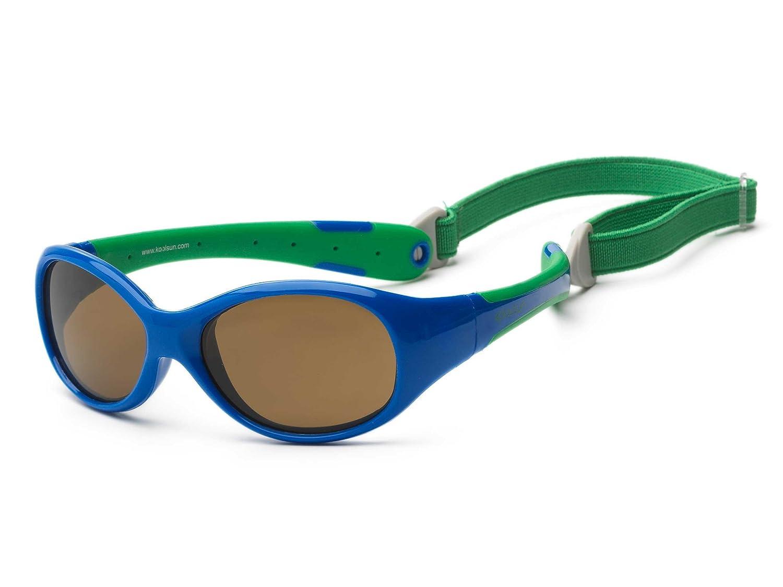 Koolsun Boys Baby Sunglasses Flex 3-6 Years Royal & Green 100% UV Protection – with Detachable Head Band | Optical 1, Category 3 FLRS003