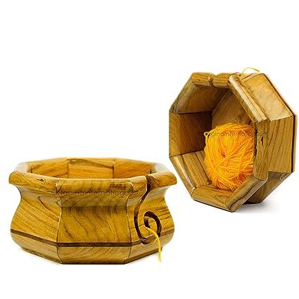 Amazoncom Wooden Yarn Bowl Holder Rosewood Knitting Bowl With