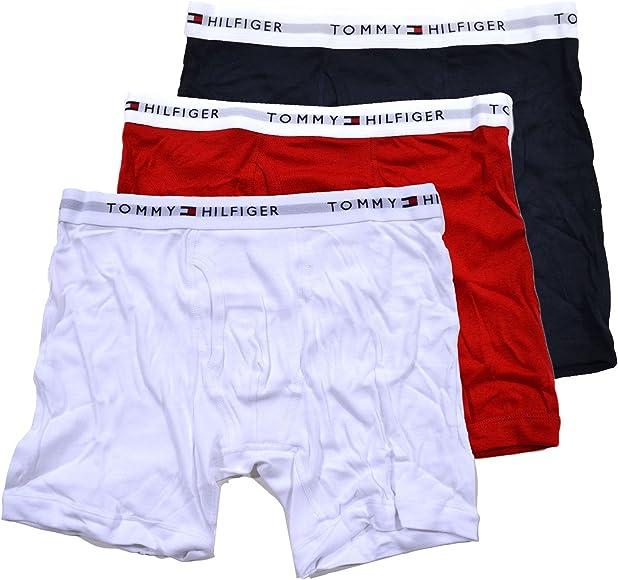 Red//White//Blue Tommy Hilfiger 3-Pack Tommy Logo Men/'s Boxer Trunks