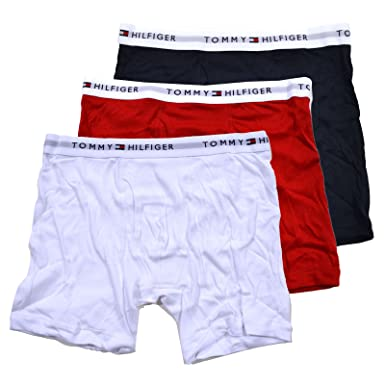 25d871df3d73 Tommy Hilfiger Mens 3 Pack Boxer Briefs (XL, Red Blue White) at Amazon  Men's Clothing store: