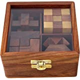 4-in-One Wooden Puzzle Games Set - 3D Puzzles for Teens and Adults - Includes Wood Interlocking Blocks, Diagonal Burr,Soma Cube and Snake Cube in Storage Box