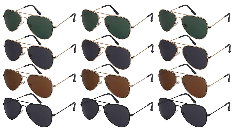 40fe102959ab4 Amazon.com  Edge I-Wear 12 Pack Wholesale Sunglass Top Gun Men Bulk Pilot  Aviator Sunglasses Women N25095A-SD  Clothing