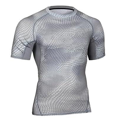 JWK Mens Gym Short Sleeve Training Compression Quick Dry Top T-Shirts