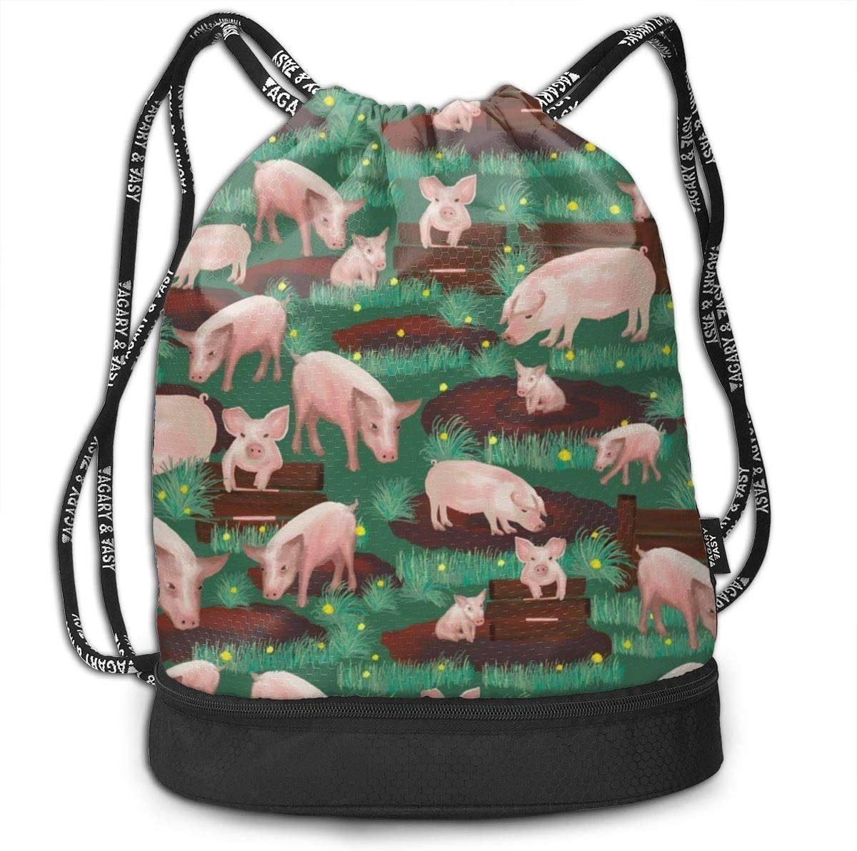 Lightweight Waterproof Large Storage Drawstring Bag For Men /& Women Pigs In Farm Cinch Backpack Sackpack Tote Sack