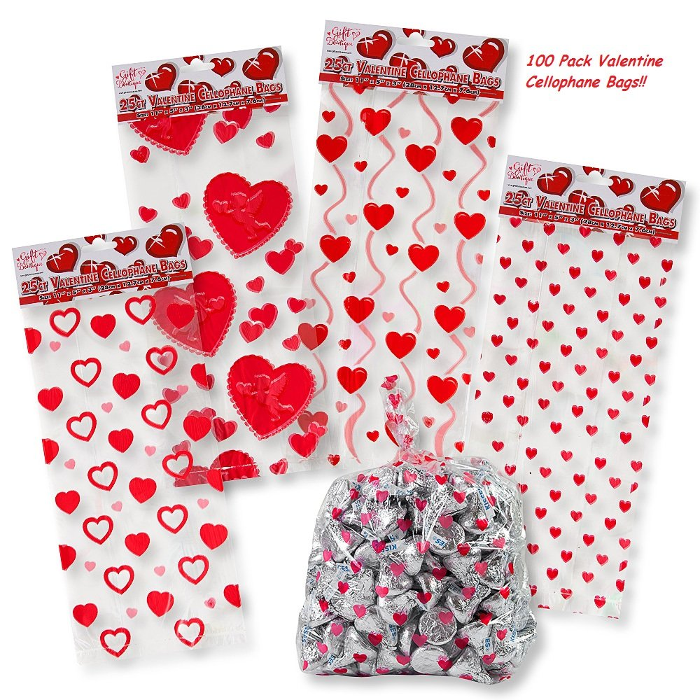 Amazon.com: Valentine Cellophane Bags 100 Pack with Twist Ties ...