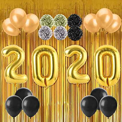 """10/"""" Black Gold White Plain Balloons Helium//Air Quality New Year Eve Party Baloon"""