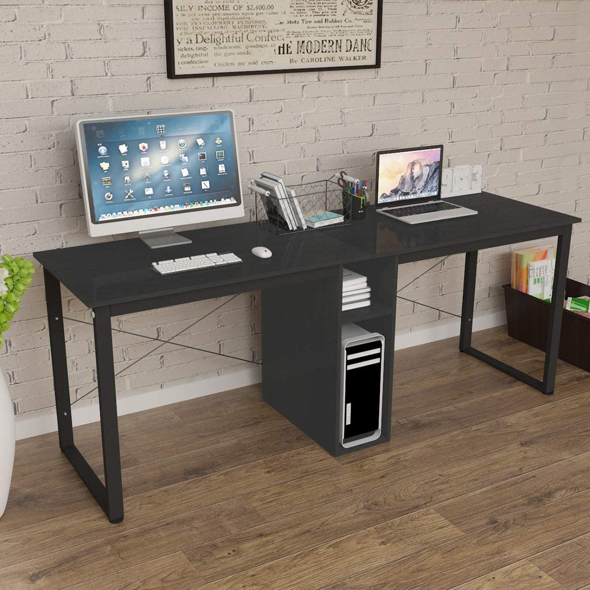 Soges 2 Person Home Office Desk 78inches Large Double Workstation Desk Writing Desk With Storage Black Hz011 200 Bk Ca Amazon Ca Home Kitchen