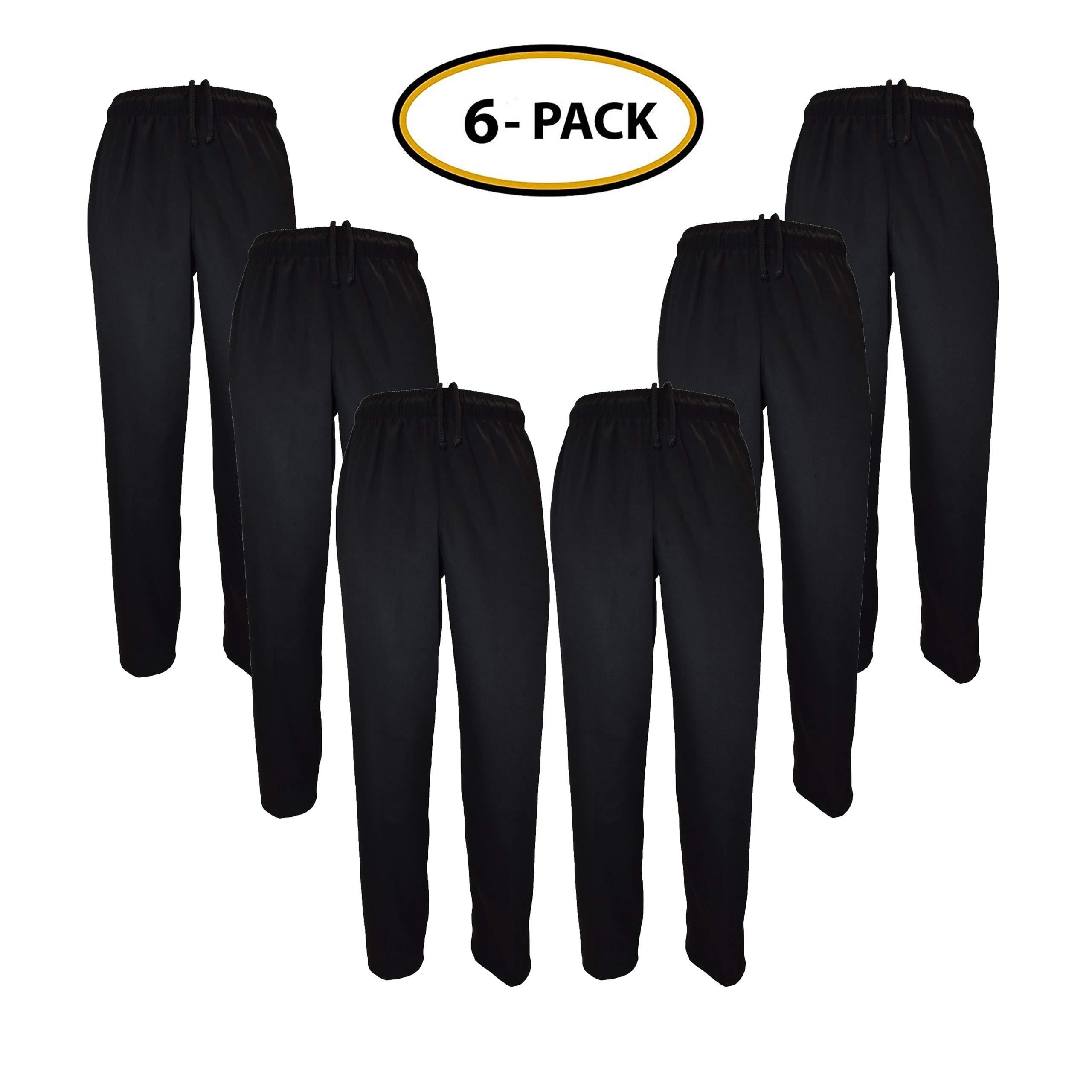 Classic Chef Pants (XXXXX-Large, 6 Pack Black)