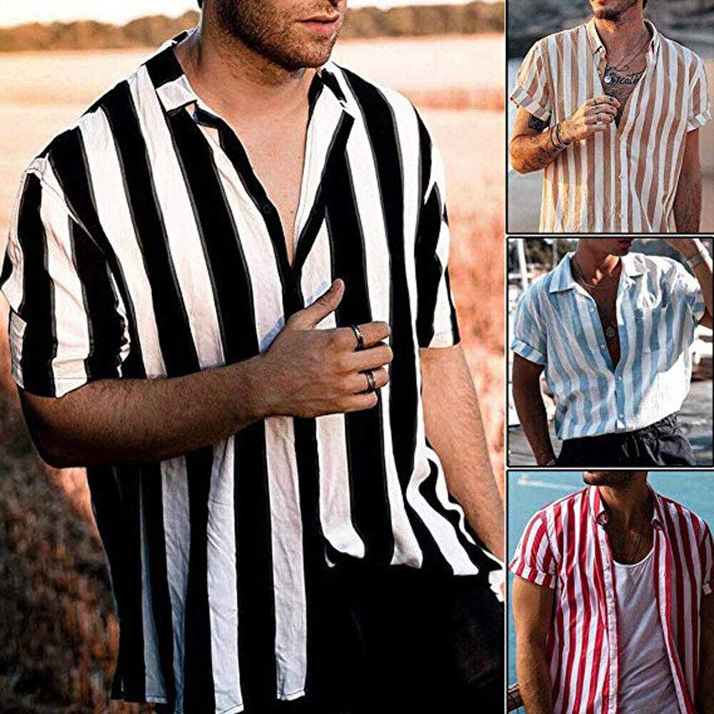 Mens Regular-fit Plaid Short-Sleeve Striped Casual Shirt