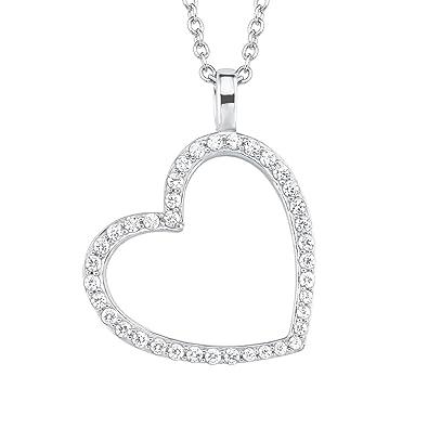 2c135f2cbbc5 Oliver Damen-Kette mit Anhänger Herz 925 Silber rhodiniert Zirkonia weiß 45  cm